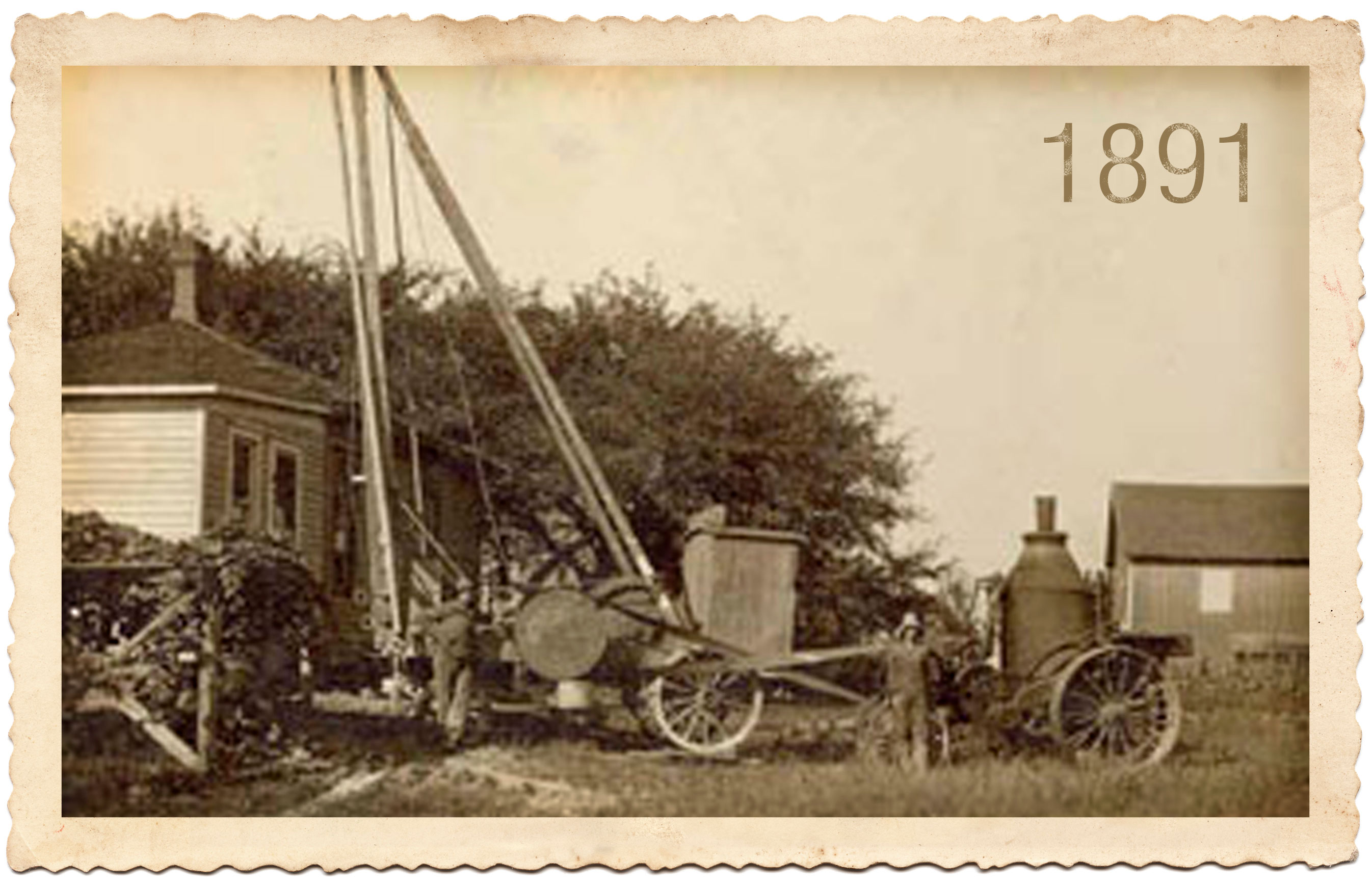 James Moody and Associates groundwater professionals since 1891 started with steam-driven drillings rigs in Crawford County, PA old sepia company photo stamp