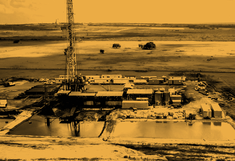 Moody yellow energy block oil and gas field with large drilling rig on company site